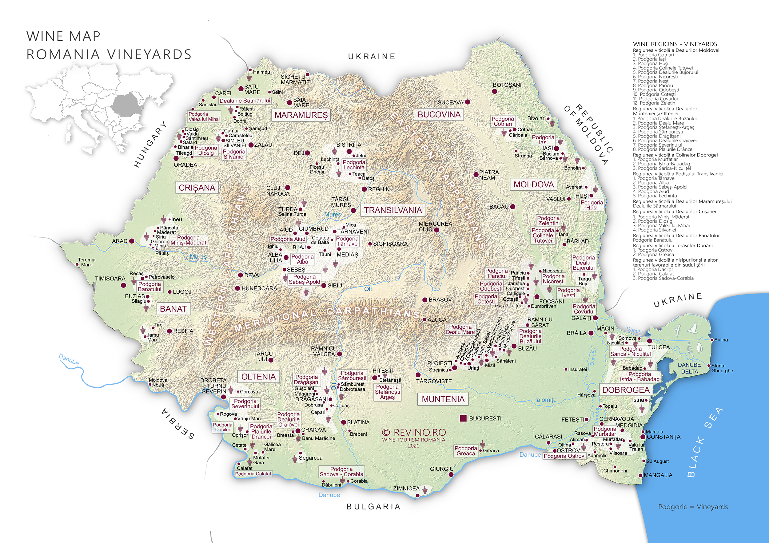 vineyards wine map romania
