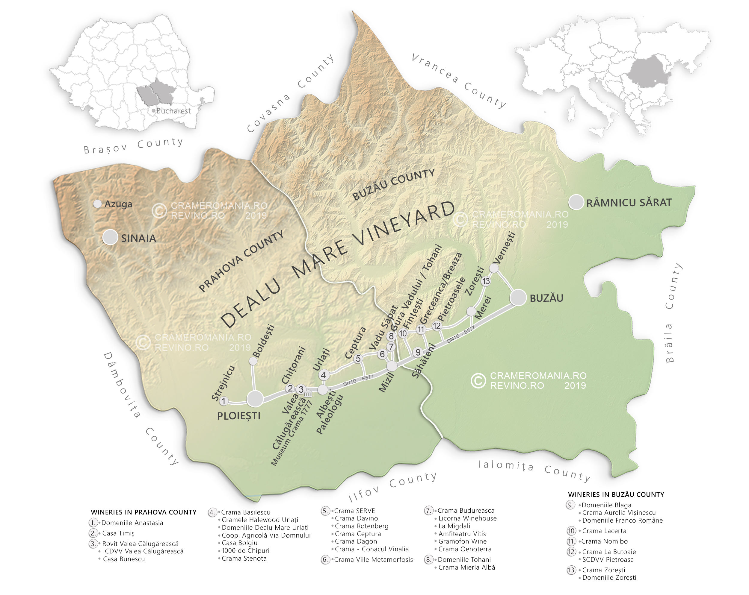 dealu mare wine region wine map